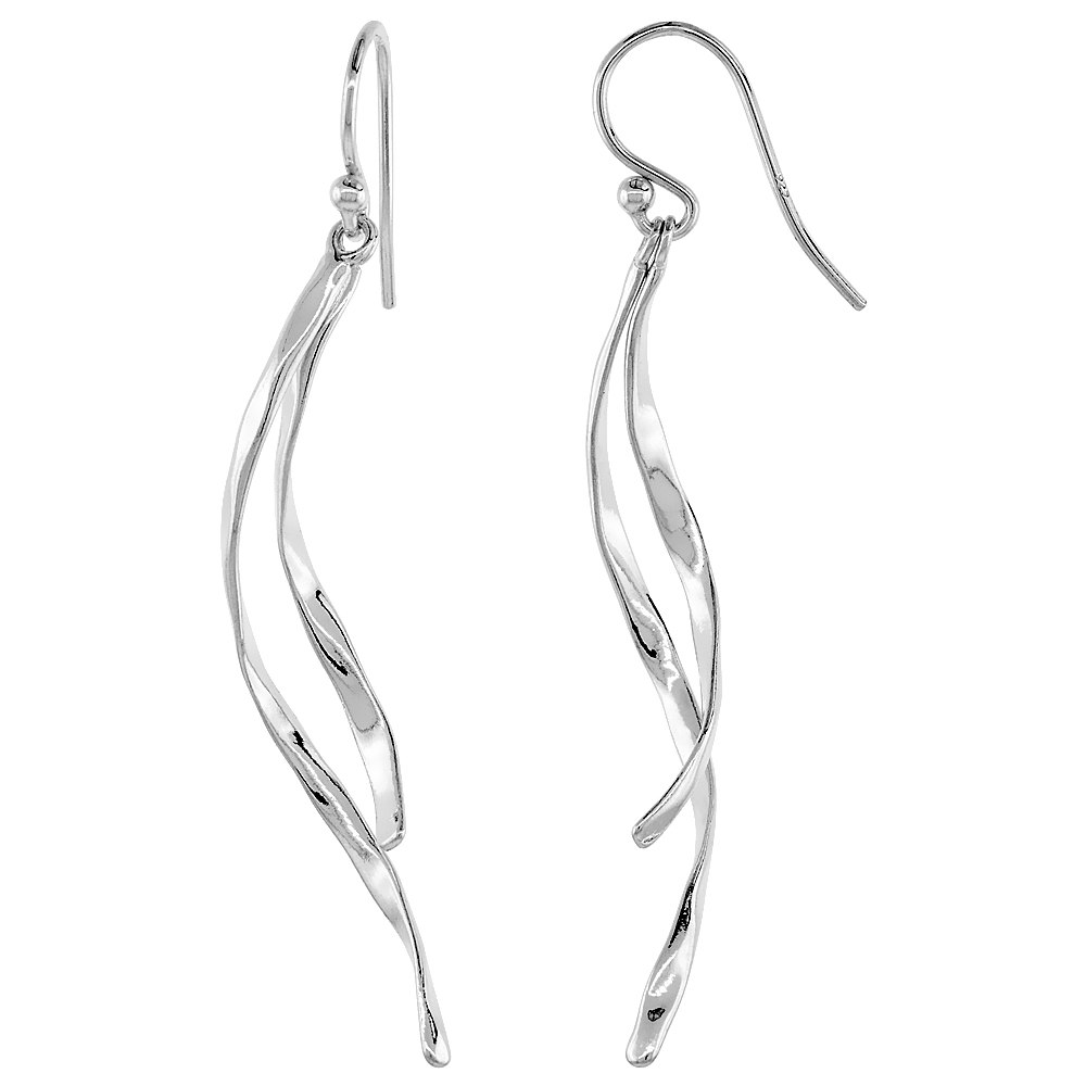 Sterling Silver Two-Strand Dangle Long Earrings, 1 3/4 inches long