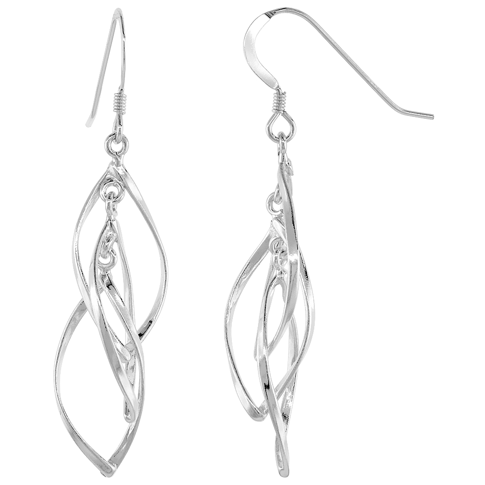 Sterling Silver Helical Dangle Earrings, 1 3/16 inches long