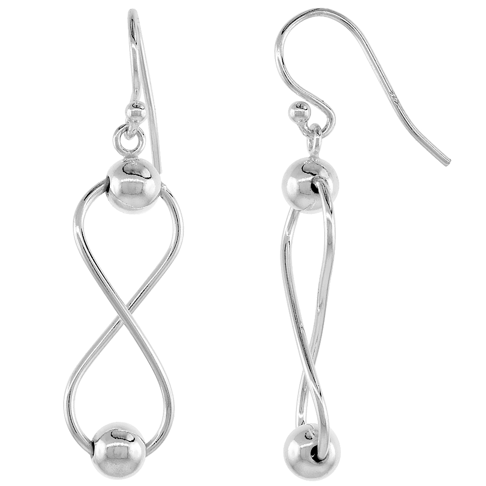 Sterling Silver Infinity Dangle Earrings Beaded, 1 1/8 inches long