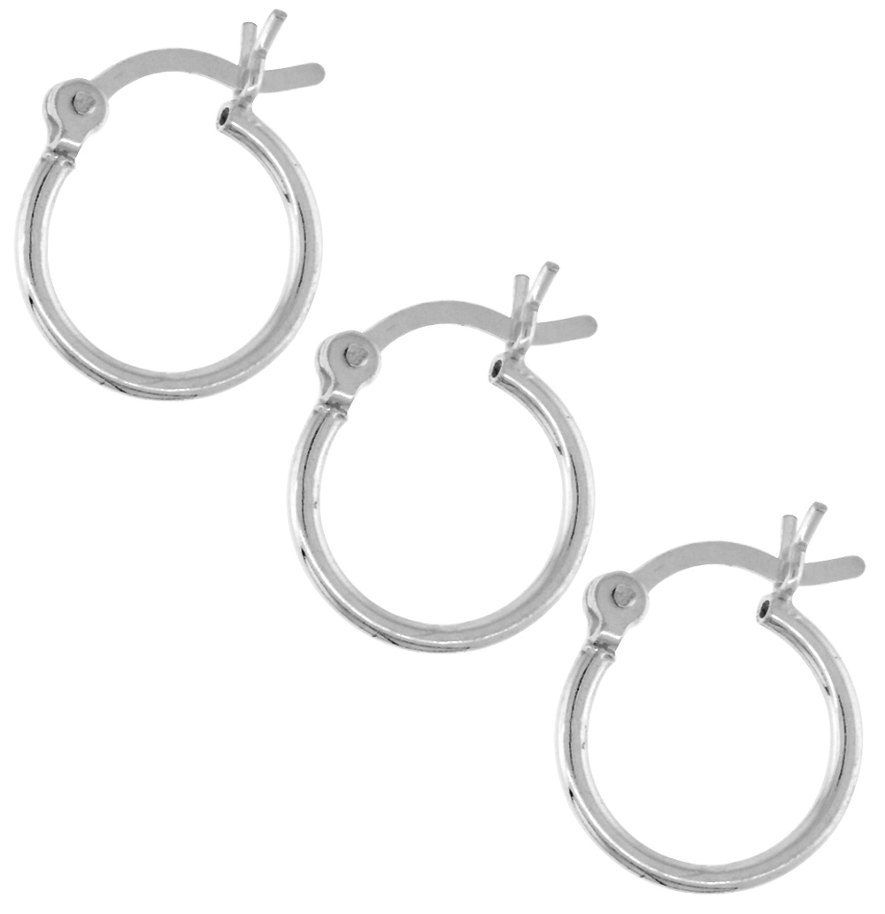 3 Pairs Tiny Sterling Silver Tiny 1/2 inch 12mm Hoop Earrings Women and Men Click Top Thin 1mm Tube