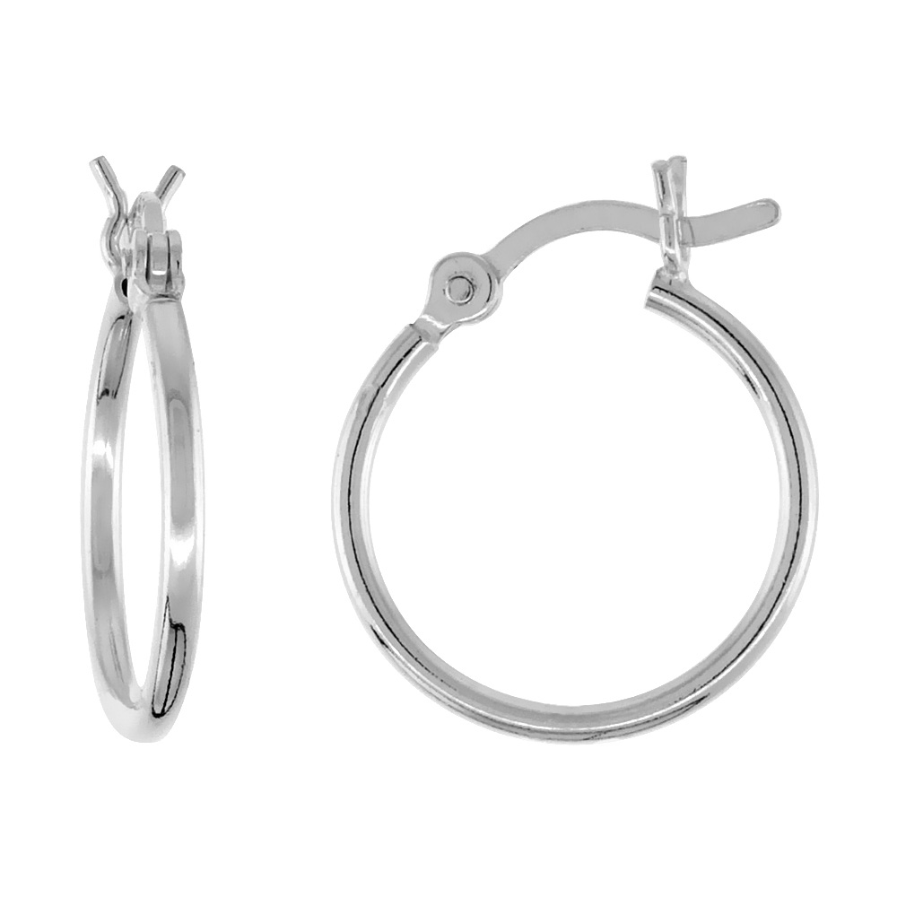 Small Sterling Silver Tube Hoop Earrings with Post-Snap Closure, 1mm thin 9/16 inch round
