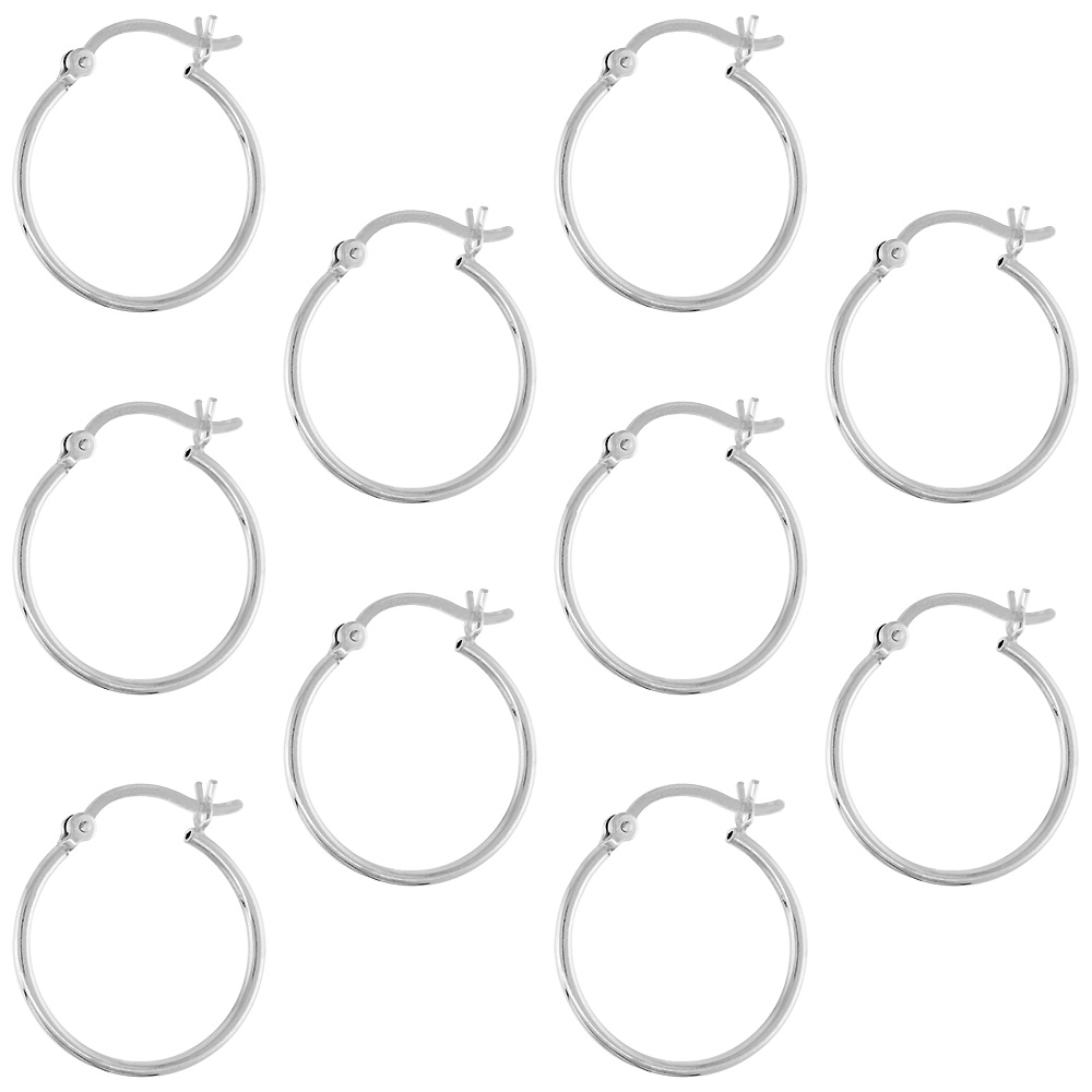 10 Pairs Sterling Silver Tube Hoop Earrings with Post-Snap Closure, 1mm thin 13/16 inch round