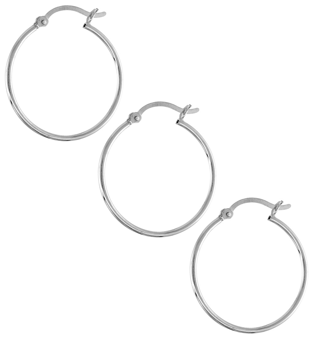 3 Pairs Sterling Silver Tube Hoop Earrings with Post-Snap Closure, 1mm thin 1 inch round