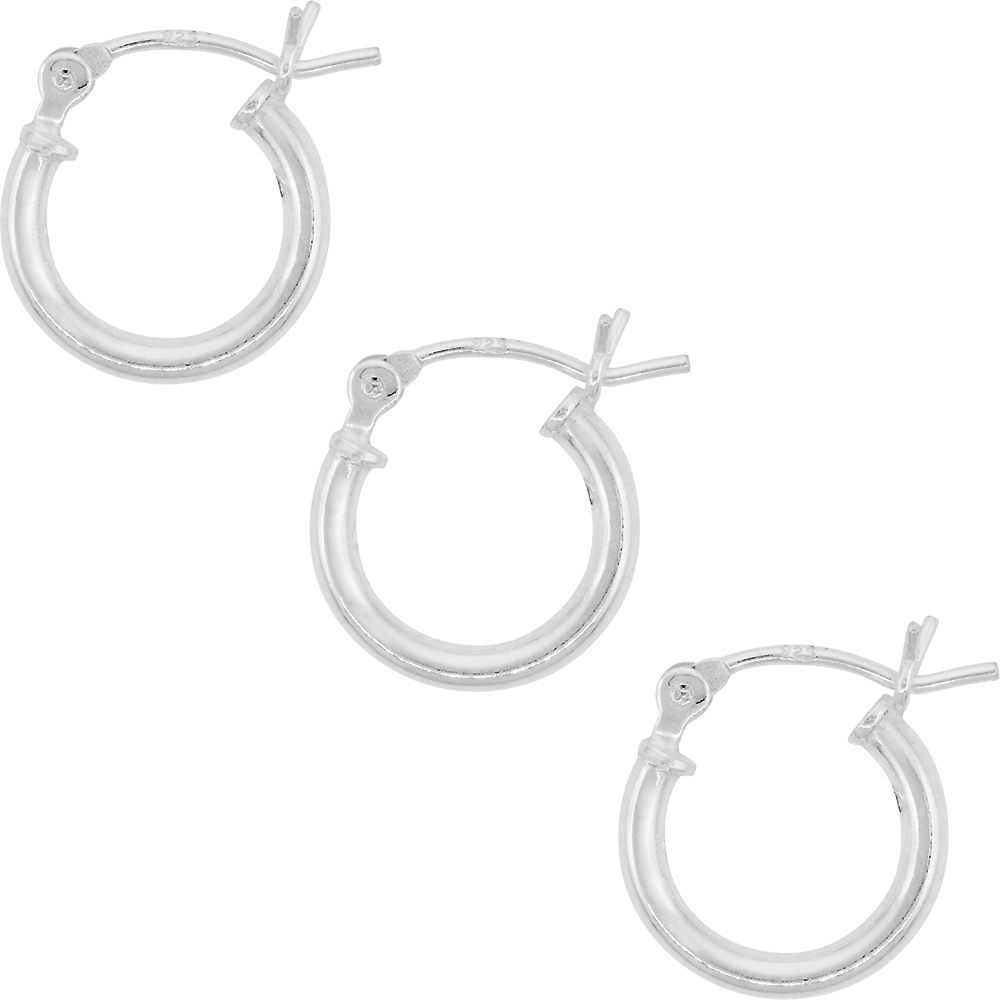 3 Pairs Sterling Silver Small Tube Hoop Earrings with Post-Snap Closure 2mm thick 1/2 inch round