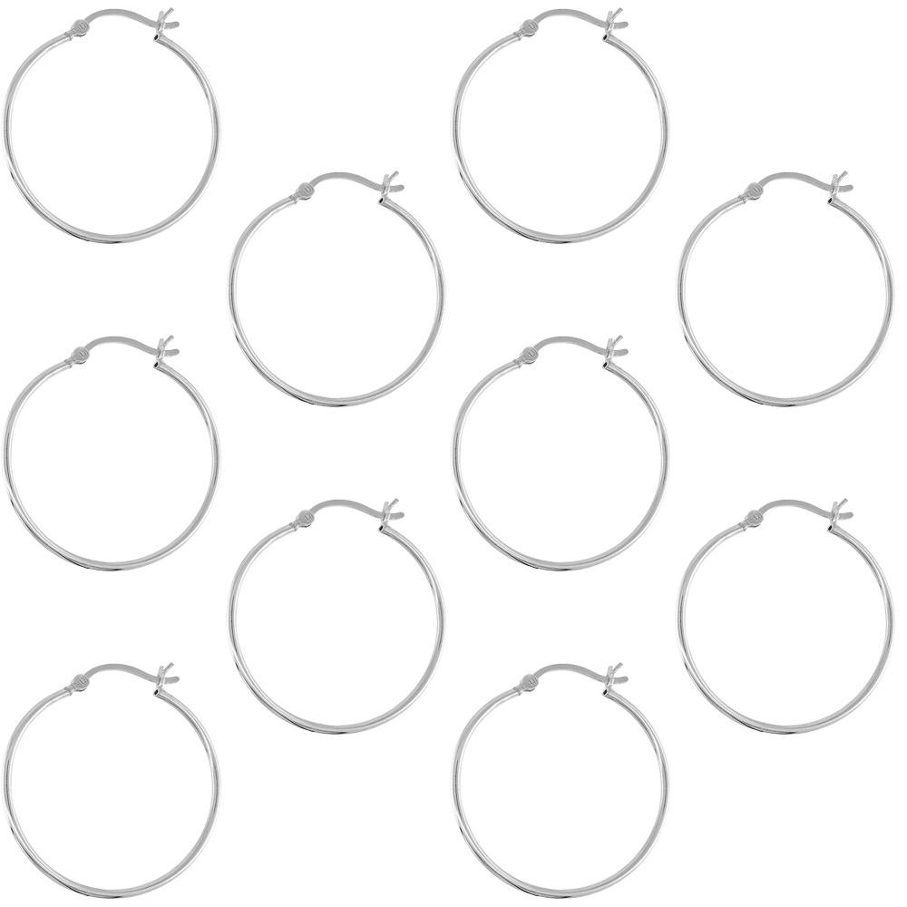 10 Pairs Sterling Silver 1 1/4 inch 30mm Hoop Earrings Women and Men Click Top thin 1mm Tube