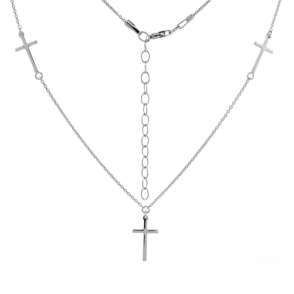 Sterling Silver Tiny Station Cross Necklace Rhodium 16-18 inch