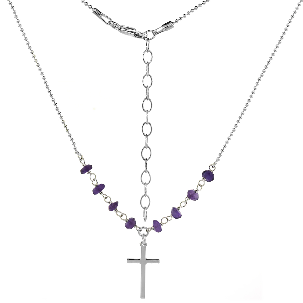 Sterling Silver Dainty Cross Necklace Genuine Amethyst Beads Faceted Rhodium 16-18 inch