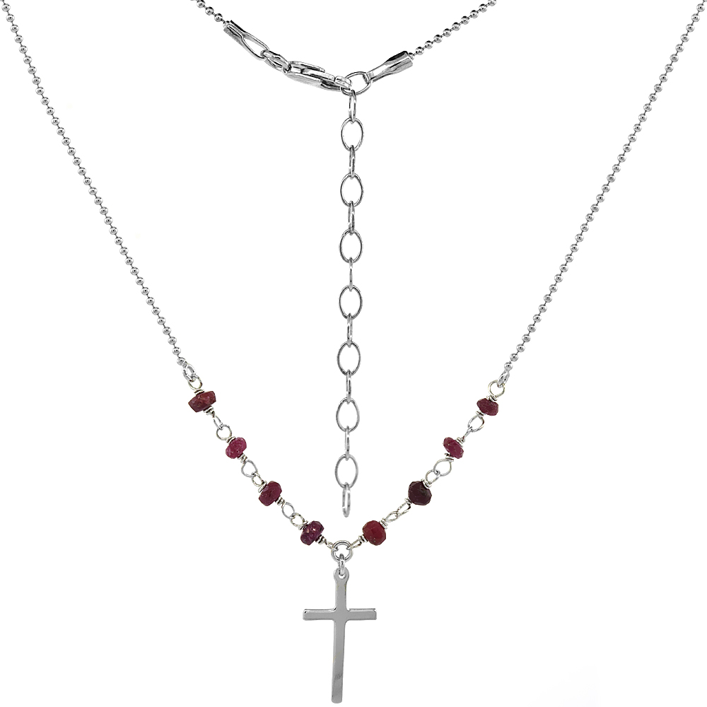 Sterling Silver Dainty Cross Necklace Genuine Garnet Beads Faceted Rhodium 16-18 inch