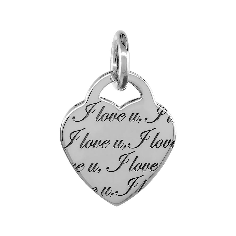 Sterling Silver I LOVE U Heart Pendant, 1 1/8 inch wide
