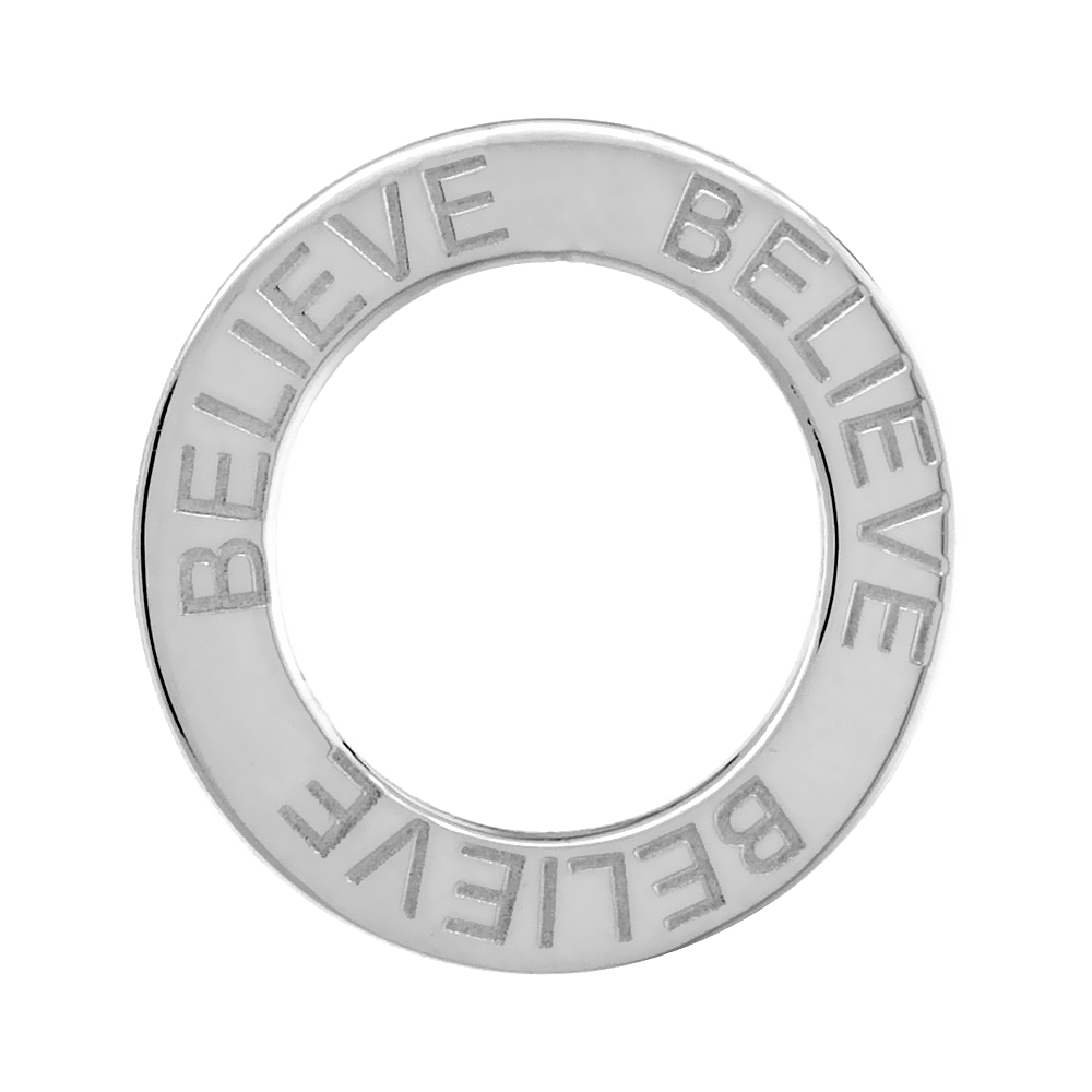Sterling Silver BELIEVE Open Circle Disc Pendant, 21mm (13/16 inch) wide