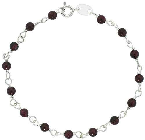 Sterling Silver Natural Garnet Bead Necklace Bracelet Anklet 4 mm Wire Wrapped Handmade