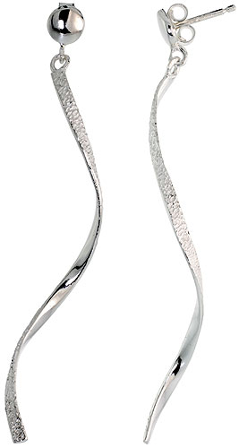 "Sterling Silver Textured Swirl Dangle Earrings, 2 1/4"" (57 mm) tall"