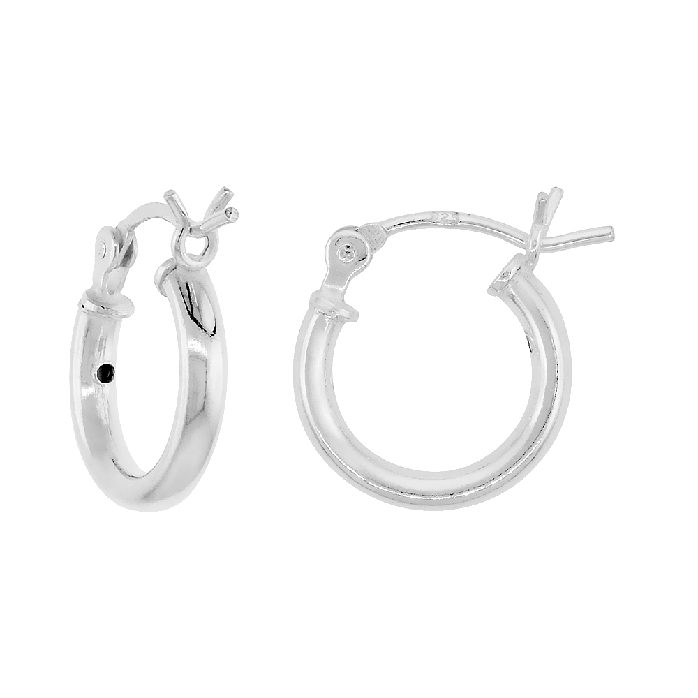 Sterling Silver Small Tube Hoop Earrings with Post-Snap Closure 2mm thick 1/2 inch round