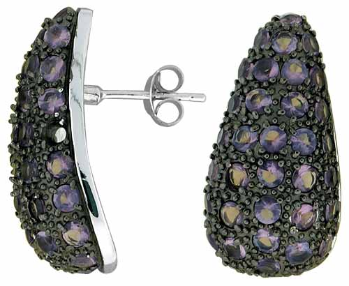 "Sterling Silver 1"" (25 mm) tall Jeweled Pear-shaped Post Earrings, Rhodium Plated w/ 2mm Synthetic Amethyst Stones"