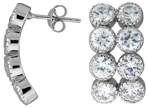 "Sterling Silver 13/16"" (21 mm) tall Jeweled Post Earrings, Rhodium Plated w/ 8 (5 mm) High Quality CZ Stones"