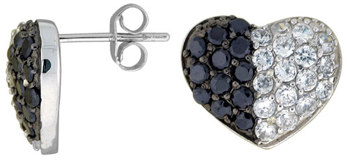 "Sterling Silver 1/2"" (12 mm) tall Jeweled Heart Post Earrings, Rhodium Plated w/ High Quality Black & White CZ Stones"