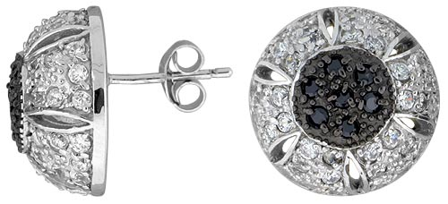 "Sterling Silver 5/8"" (16 mm) tall Jeweled Half-ball Post Earrings, Rhodium Plated w/ High Quality Black & White CZ Stones"