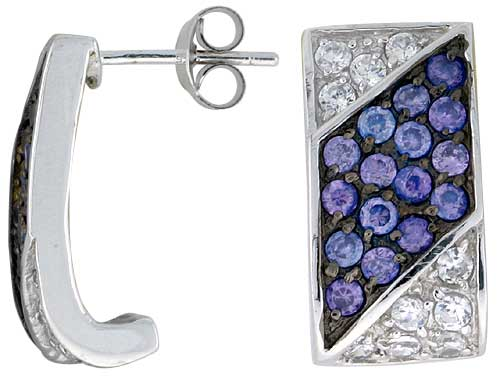 "Sterling Silver 3/4"" (19 mm) tall Jeweled Rectangular Post Earrings, Rhodium Plated w/ High Quality Synthetic Amethyst & White CZ Stones"