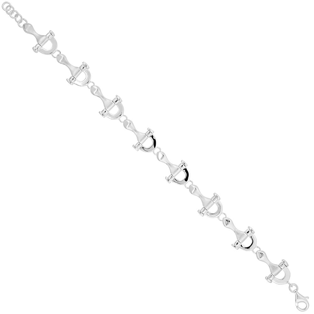 Sterling Silver Snaffle Bit Bracelet 1/2 inch wide, 7 inches long