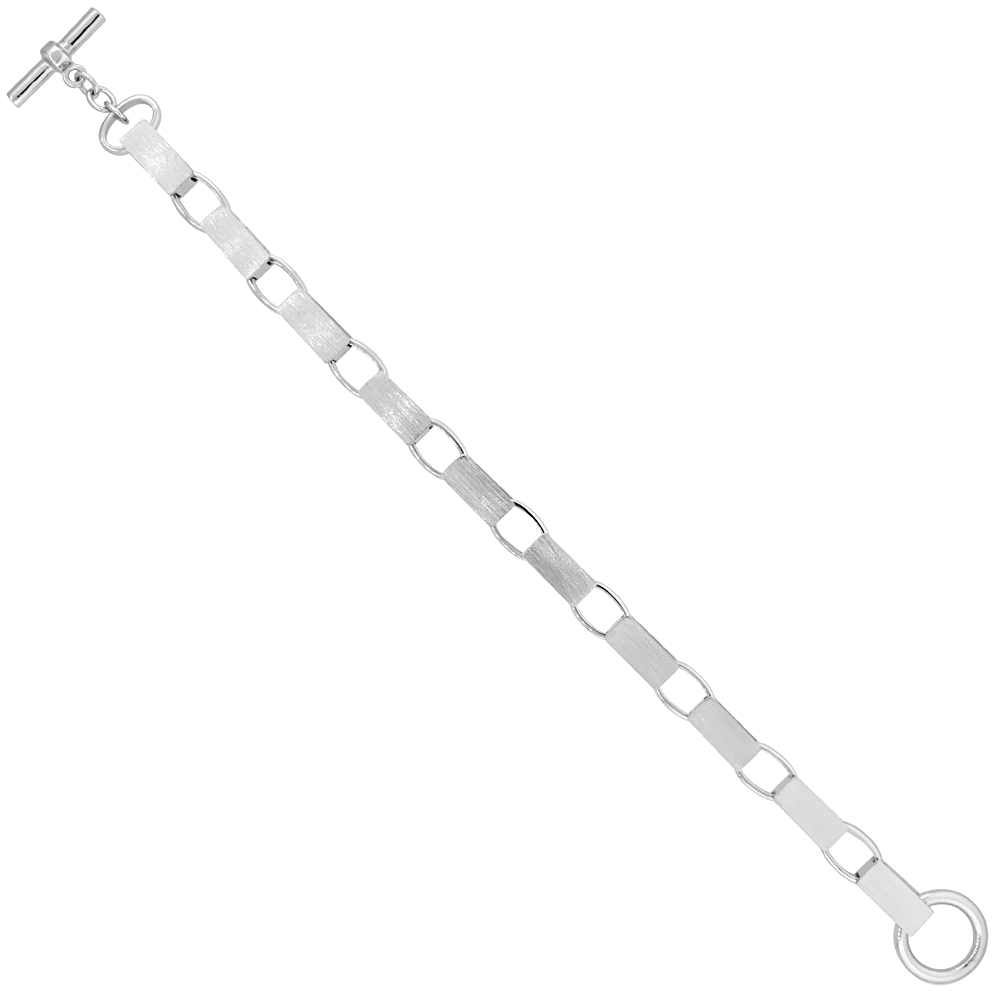Sterling Silver Satin Open Bar Link Bracelet 7/32 inch wide, 7.5, 8 & 8.5 inches long
