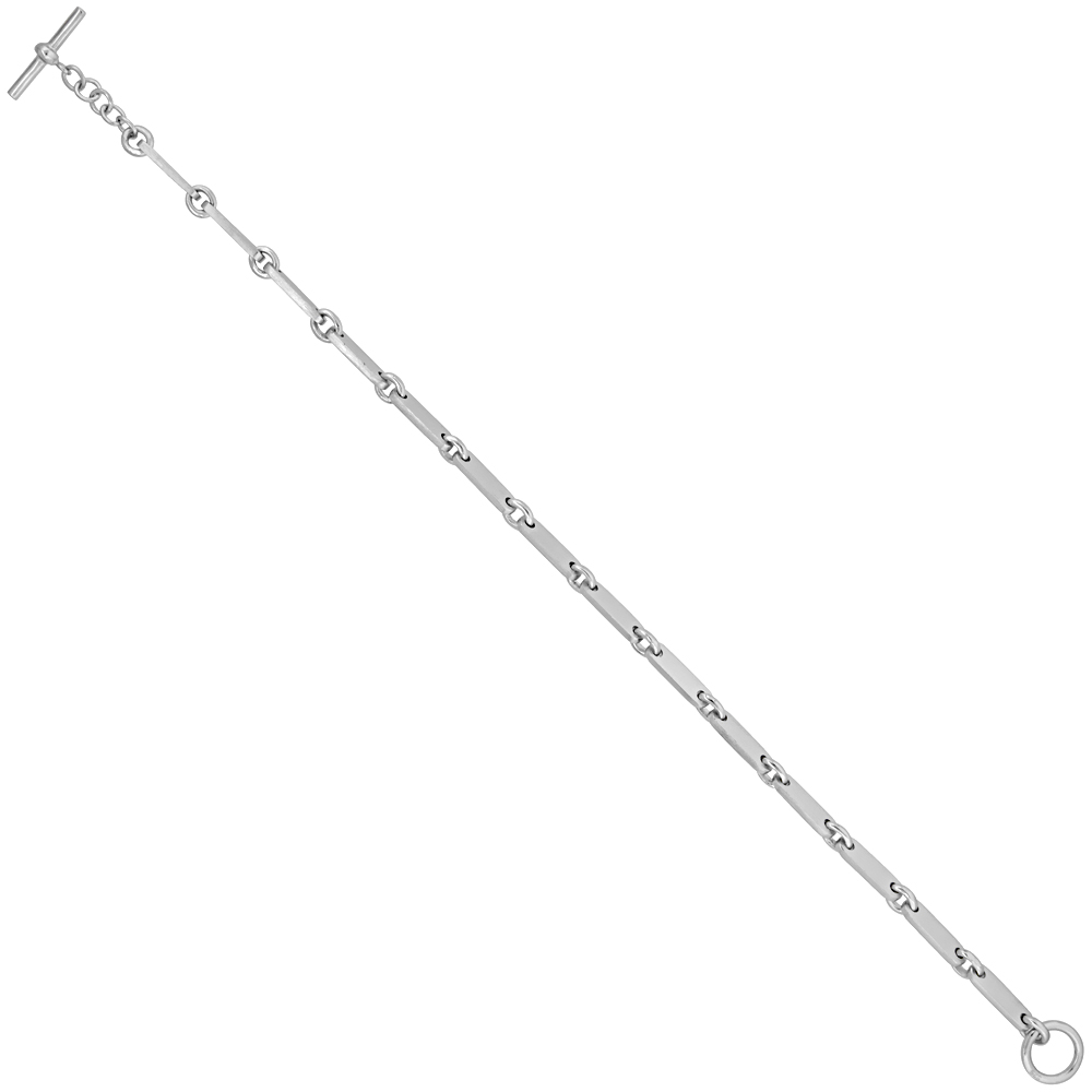 Sterling Silver Elongated Link Bracelet Satin Finish 1/8 inch wide, 7.5, 8, 16 & 18 inches long