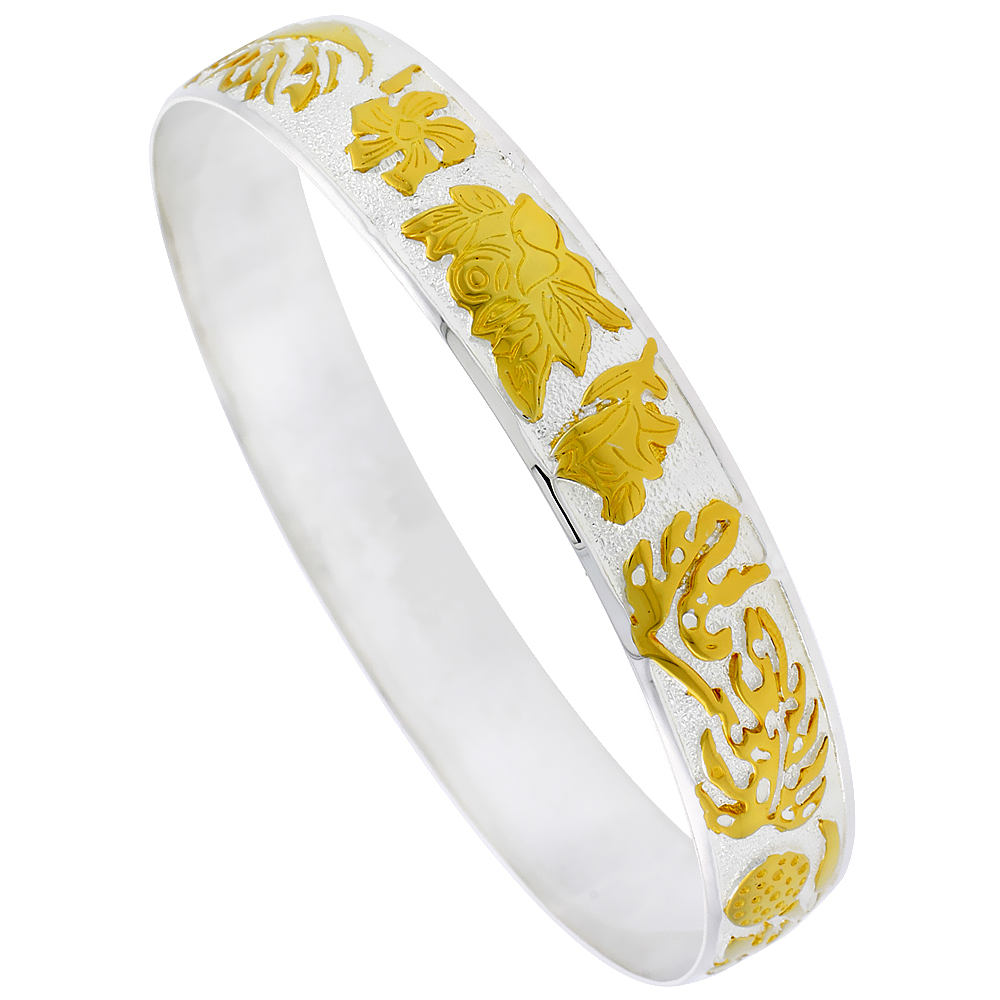 Sterling Silver Tropical Flower Hawaiian Bangle Bracelet 2 Tone, fits up to 8 inch wrist