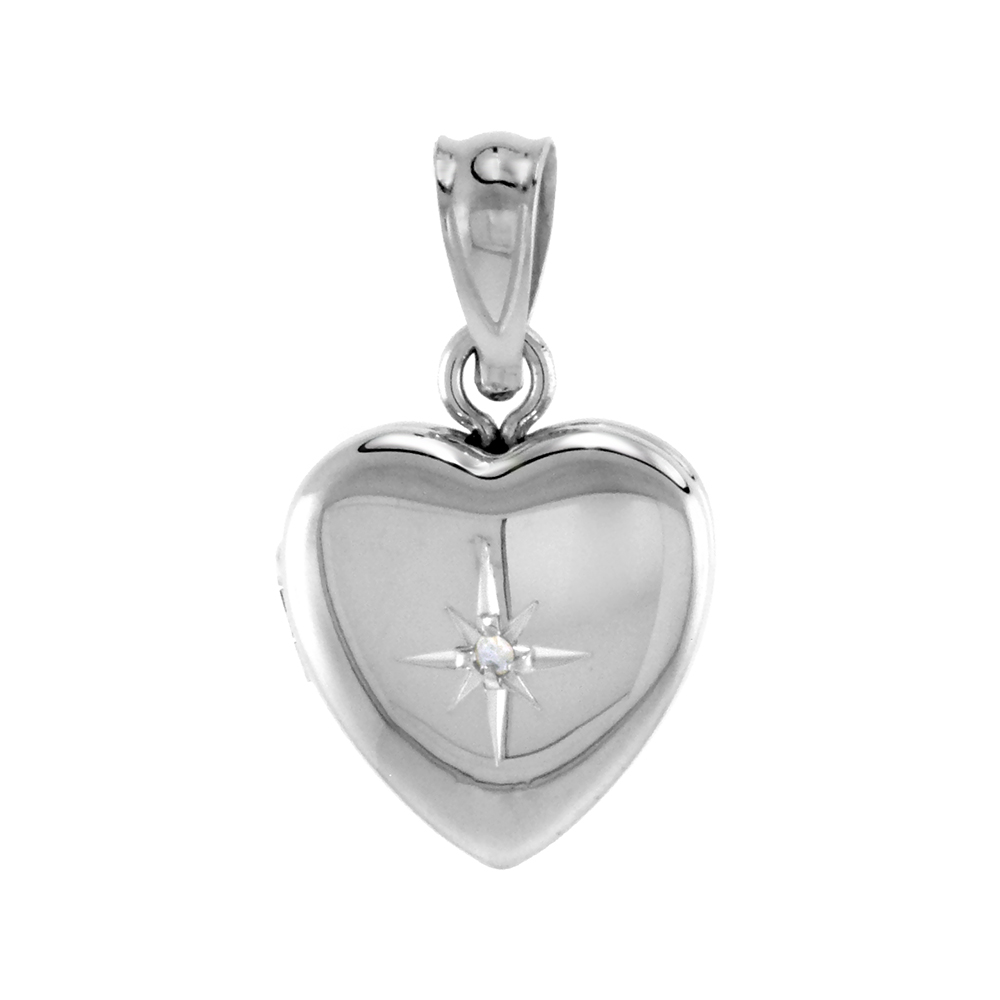 Very Tiny Sterling Silver Diamond Heart Locket Necklace 1/2 inch