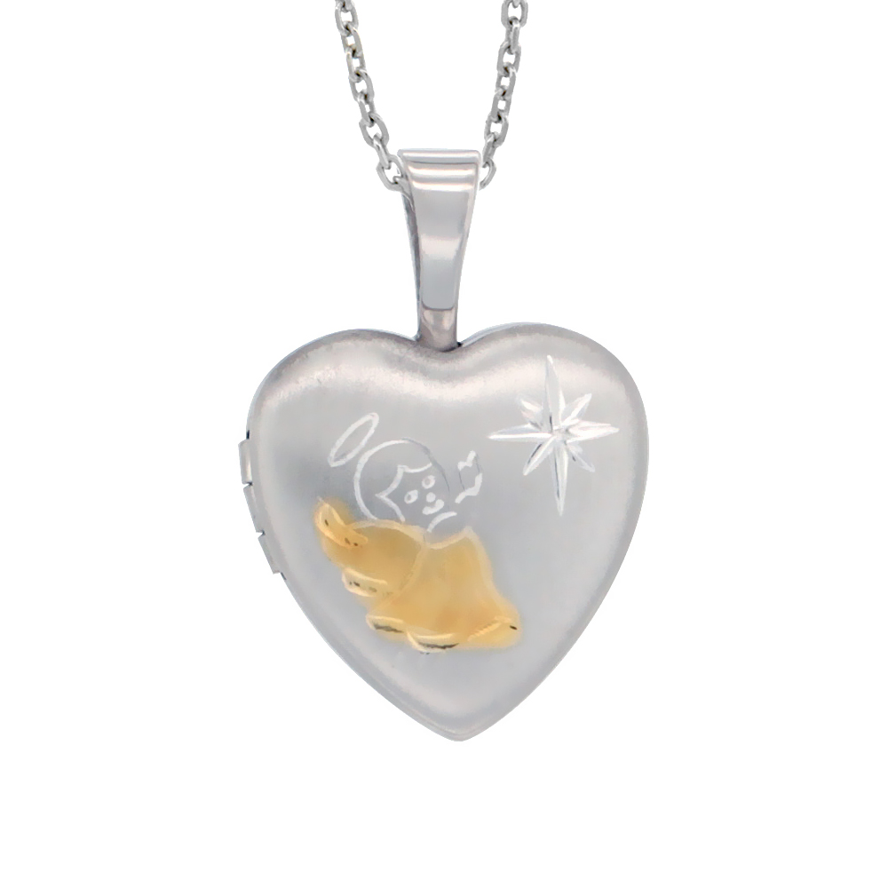 Very Tiny 1/2 inch Sterling Silver Angel Locket for Girls Heart shape Two Tone NO CHAIN