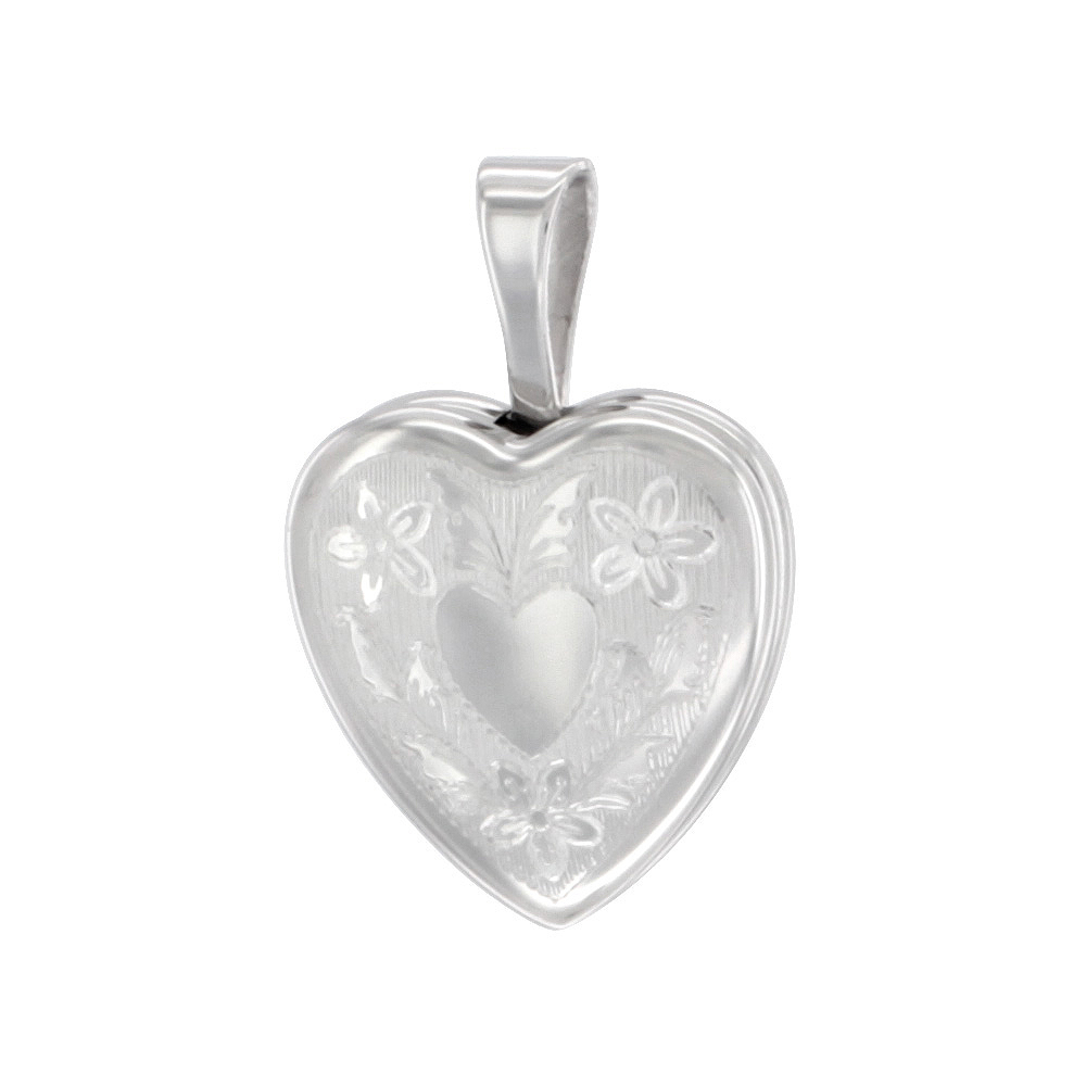 Very Tiny Sterling Silver Heart Locket Necklace Floral Engraving 1/2 inch