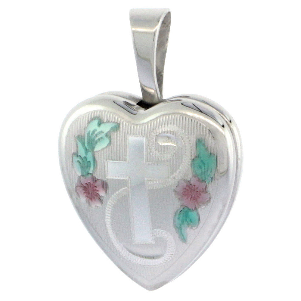 Very Tiny 1/2 inch Sterling Silver Cross Locket Heart shape Green & Pink Enamel NO CHAIN