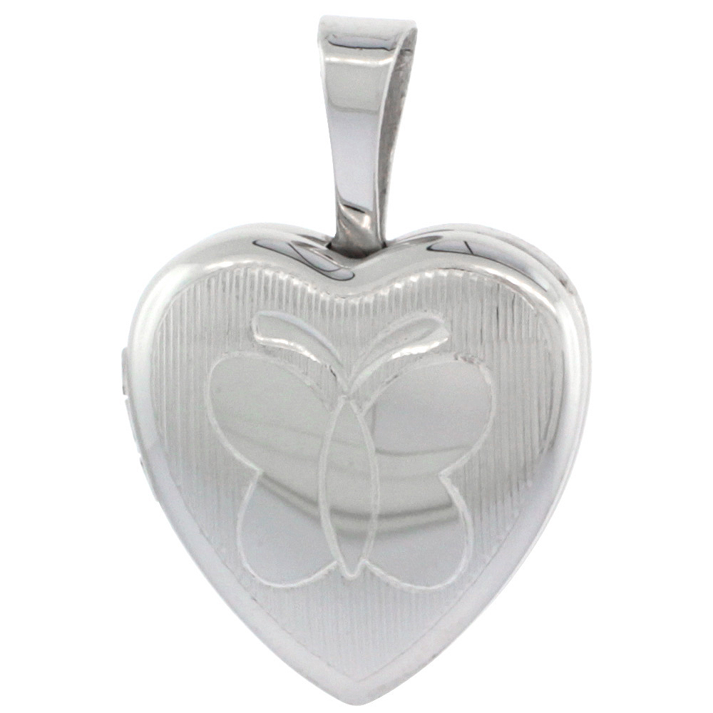 Very Tiny Sterling Silver Heart Locket Necklace Engraved Butterfly 1/2 inch