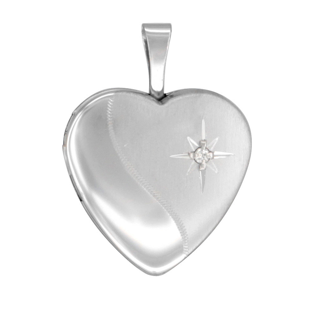 Small Sterling Silver Diamond Heart Heart Locket Necklace 5/8 inch
