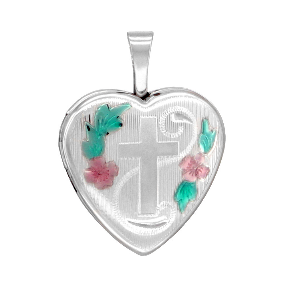 Small 5/8 inch Sterling Silver Cross Locket Heart shape Green & Pink Enamel NO CHAIN