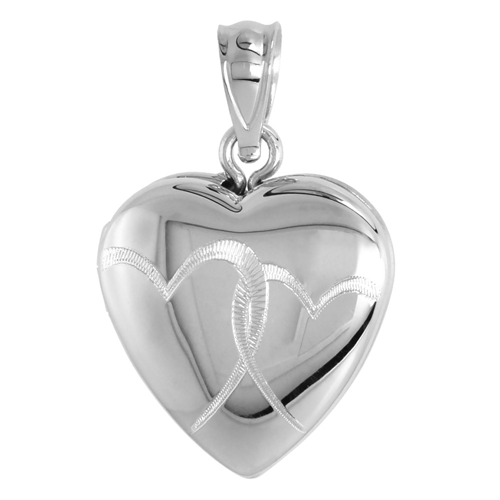 Small Sterling Silver Heart Locket Necklace Interlocking Hearts 5/8 inch