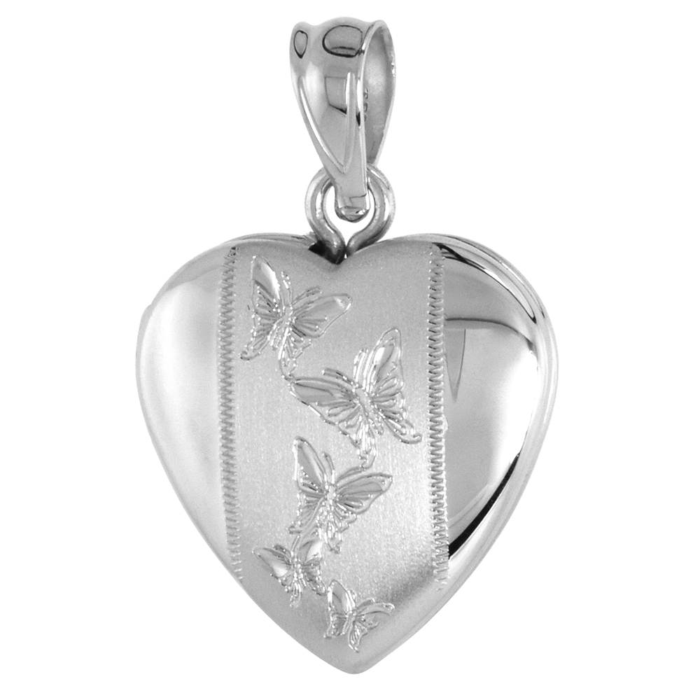 Small Sterling Silver Heart Locket Necklace Butterflies 5/8 inch