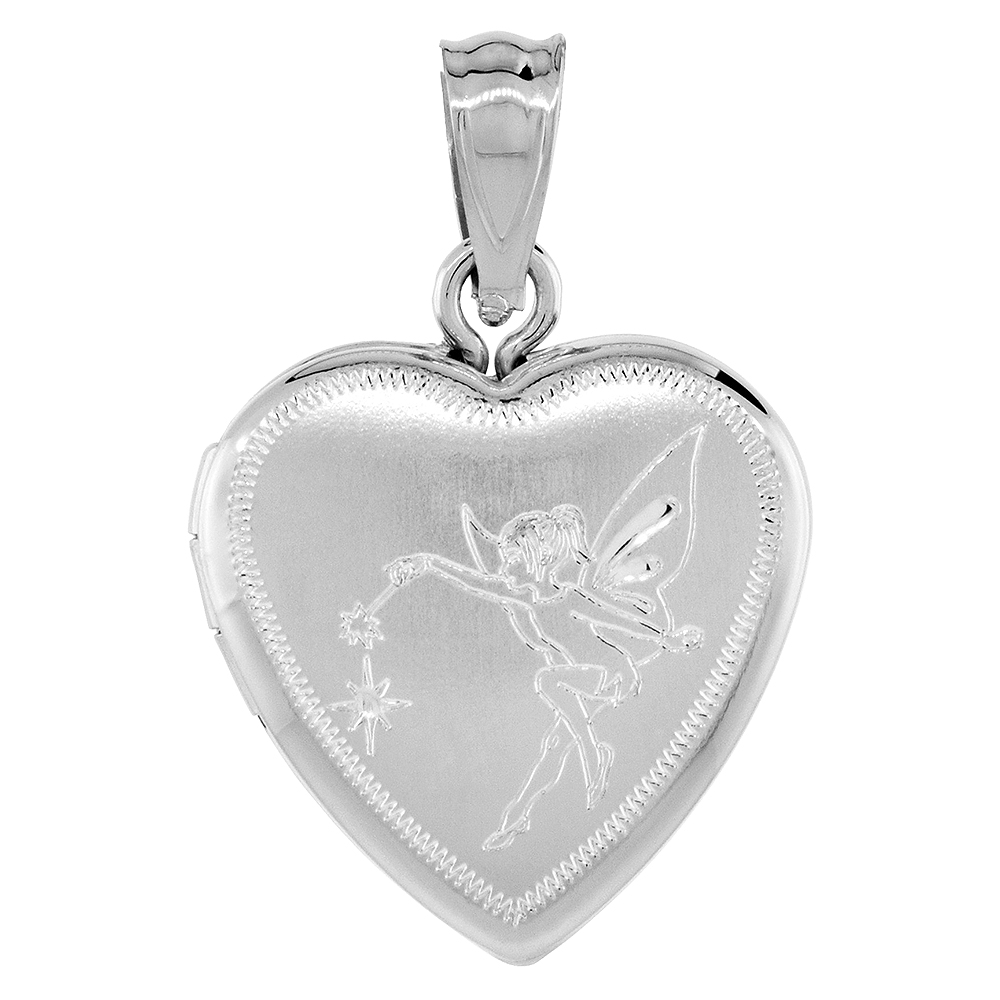 Small Sterling Silver Heart Locket Necklace Fairy 5/8 inch