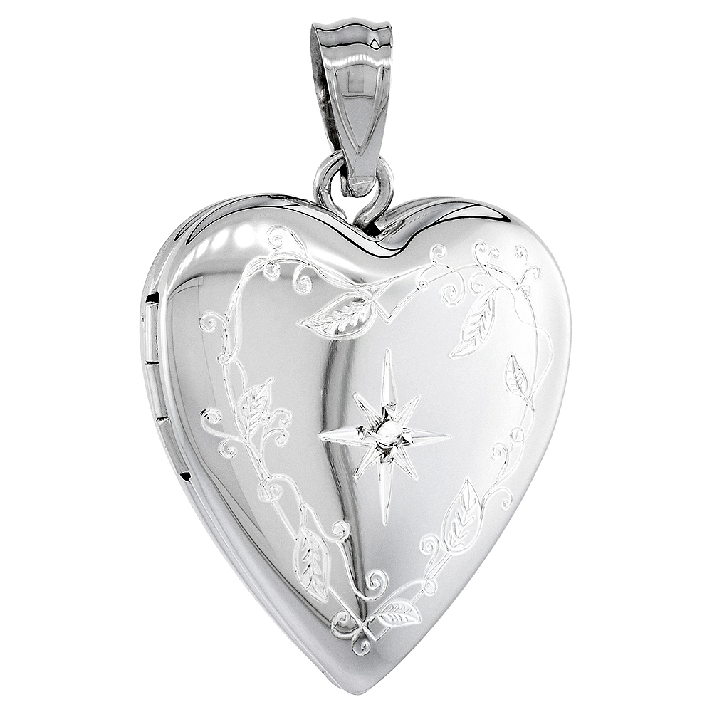Sterling Silver Diamond Heart Locket Necklace Engraved Star 3/4 inch
