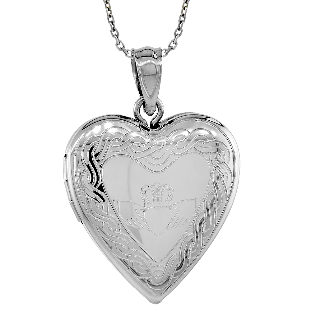 Sterling Silver Heart Locket Necklace Engraved Claddagh 3/4 inch