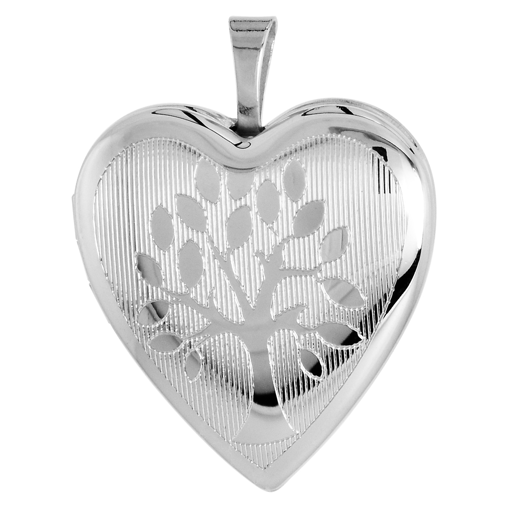 "Sterling Silver Heart Locket Necklace """"Tree of Life"""" Motif Etched 3/4 inch"