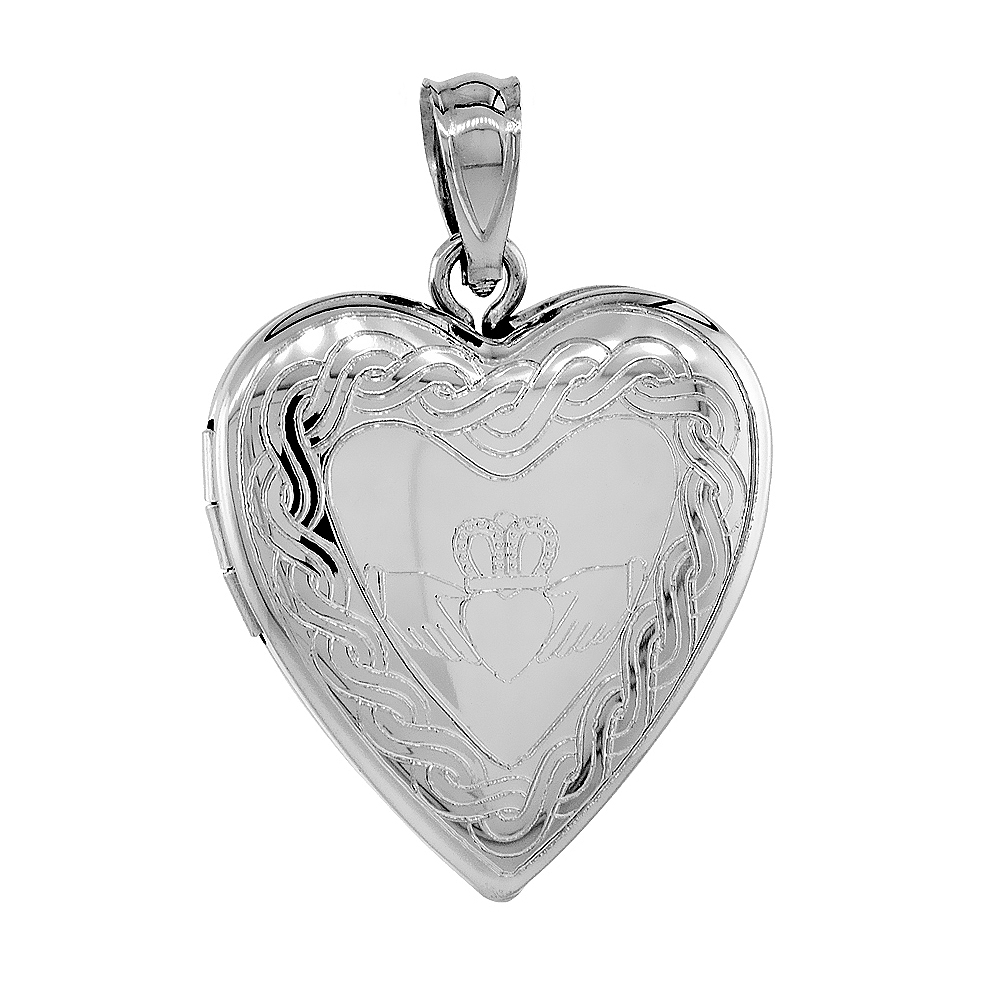 locket celtic silver knot jewelry heart hands pendant pmr oval bling claddagh lockets