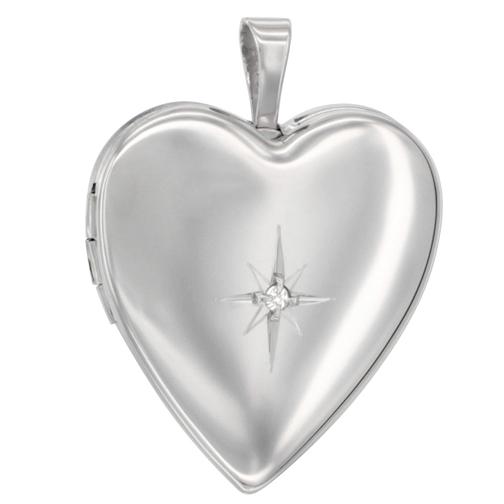 Sterling Silver Diamond Heart Locket Necklace 3/4 inch