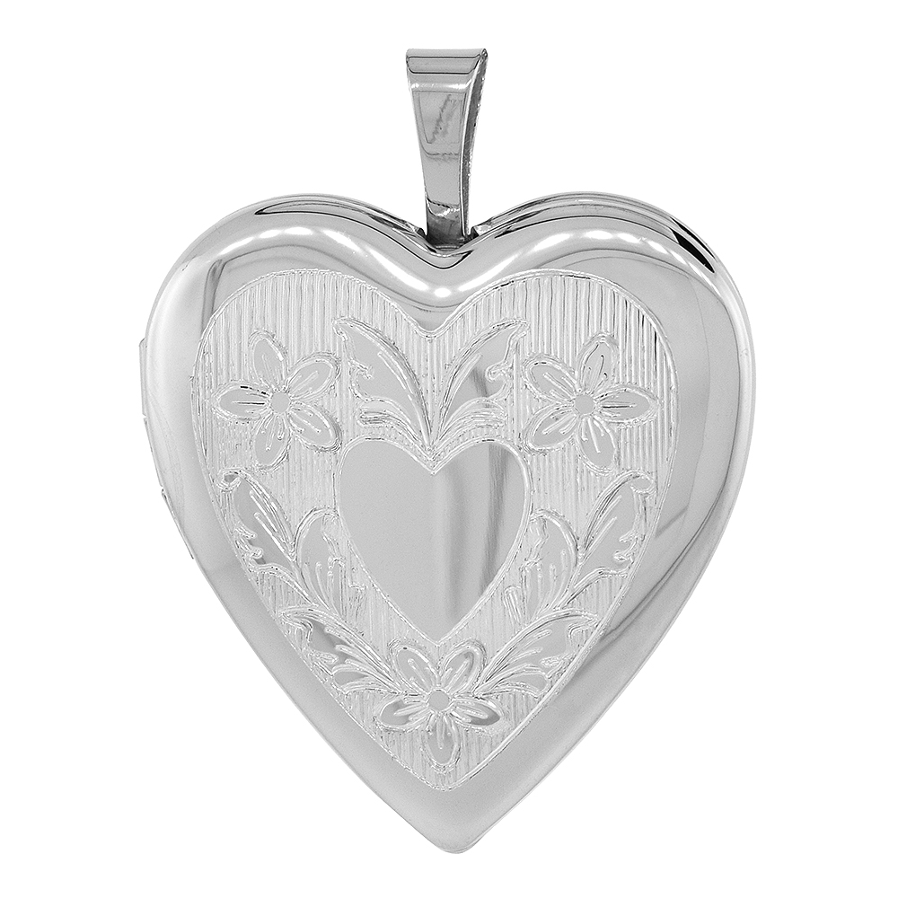 Sterling Silver Heart Locket Necklace Floral Engraving 3/4 inch wide