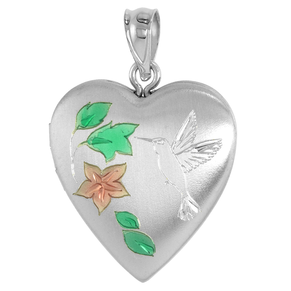 Sterling Silver Heart Locket Necklace Hummingbird 3/4 inch