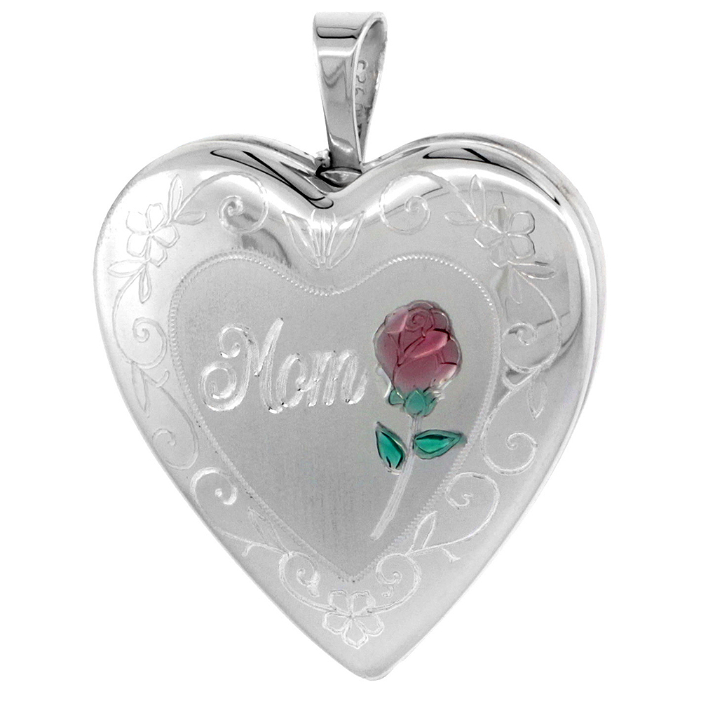 Sterling Silver Heart Locket Necklace MOM & Red Rose 3/4 inch wide