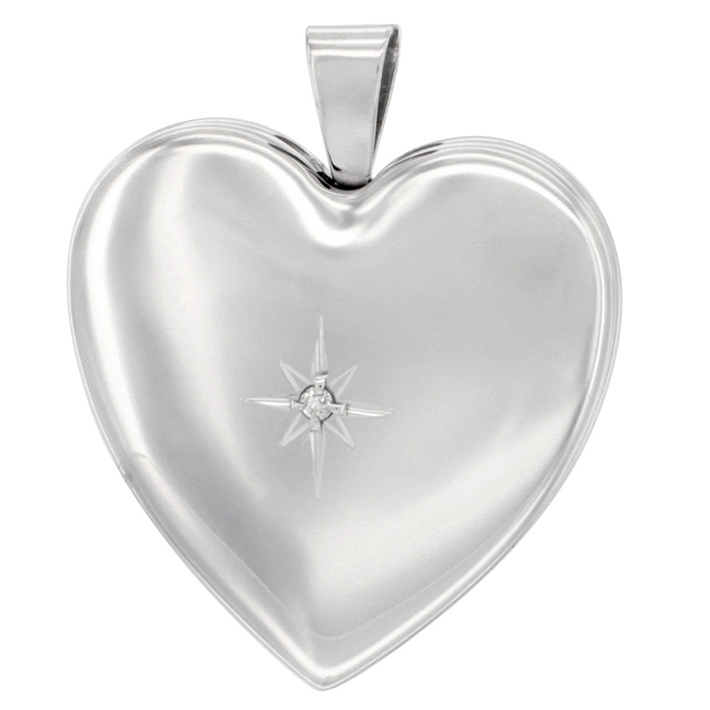 Sterling Silver Diamond Heart Locket Necklace 4 Picture 1 inch
