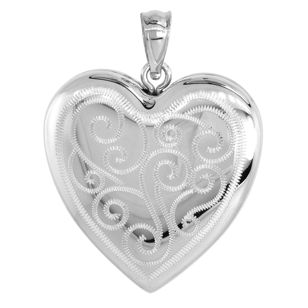 Sterling Silver Heart Locket Necklace 4 Picture Scroll Engraved 1 inch wide