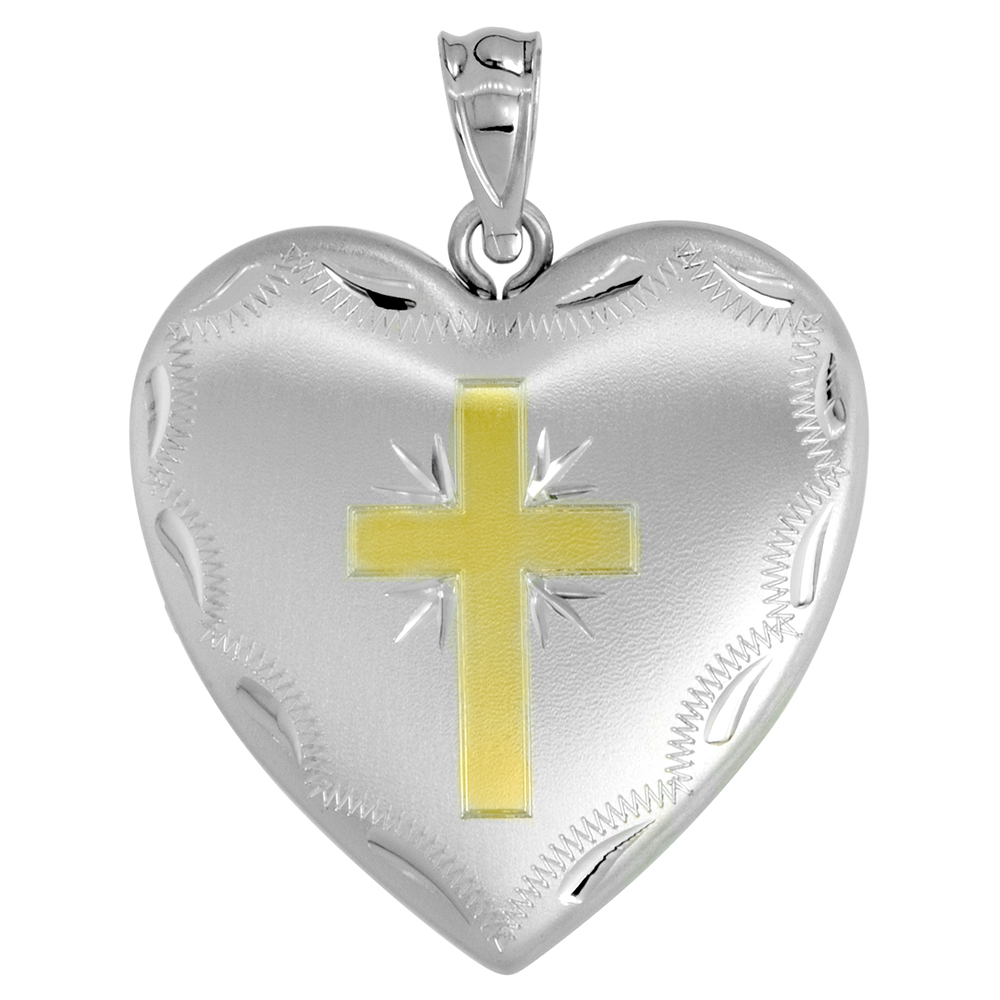 Sterling Silver Heart Locket Necklace 4 Picture Gold Cross 1 inch wide