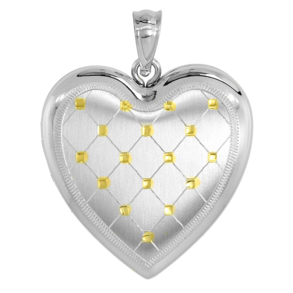 Sterling Silver Heart Locket Necklace 4 Picture Gold Quilt 1 inch wide