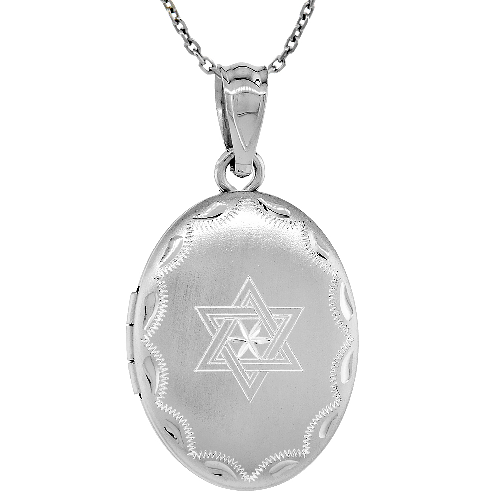 Small Sterling Silver Oval Locket Necklace Star of David 5/8 inch