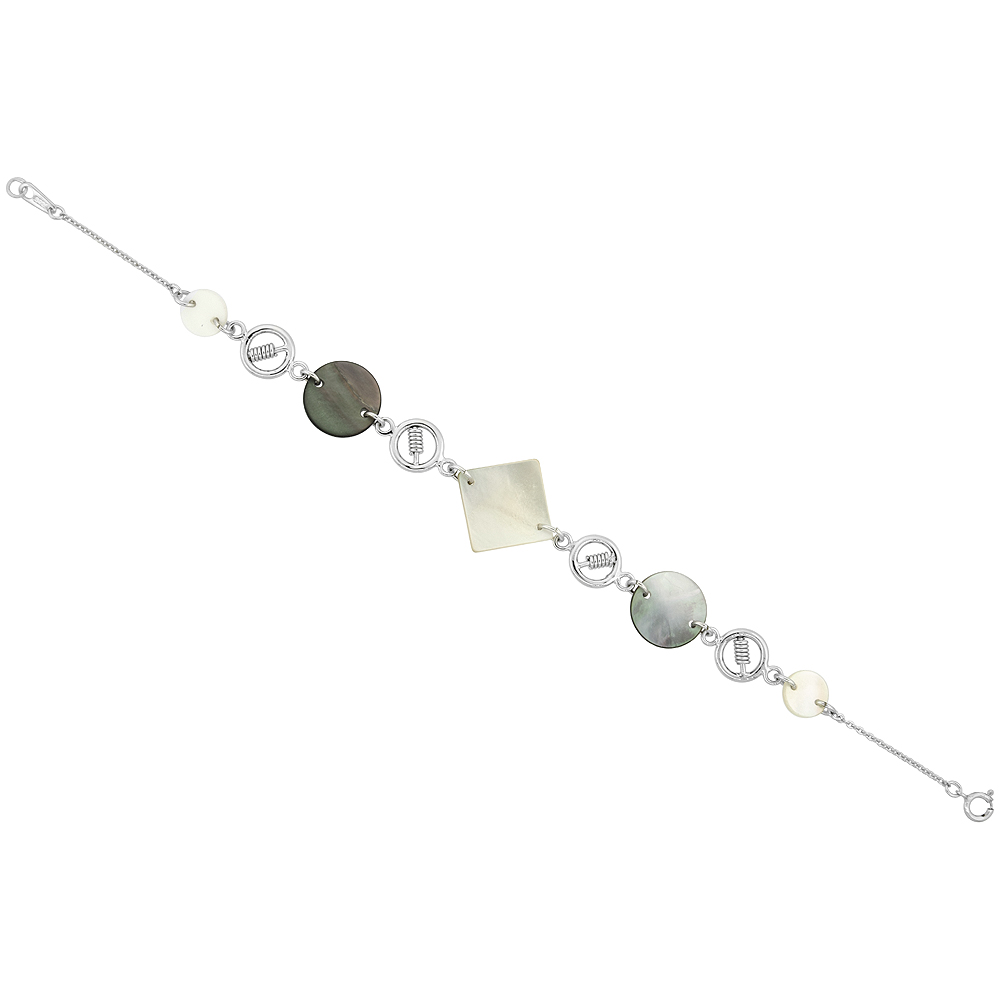 Sterling Silver Geometric Shell Bracelet, 7 inch long + 0.5 inch extension